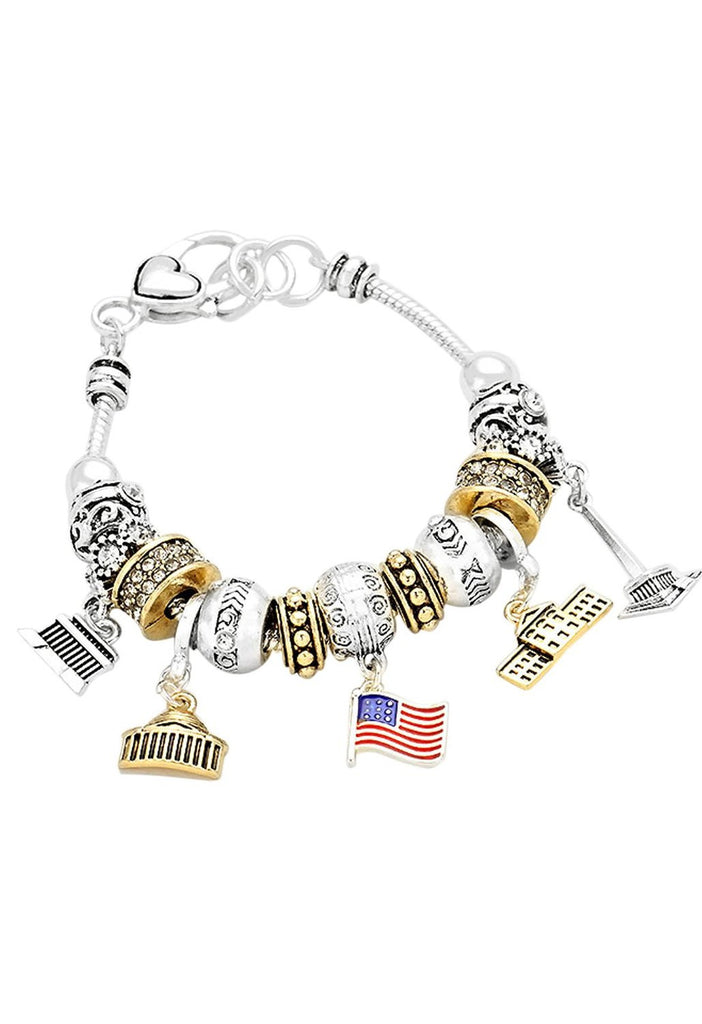 Two Tone American Flag Patriotic Beaded Charm Bracelet