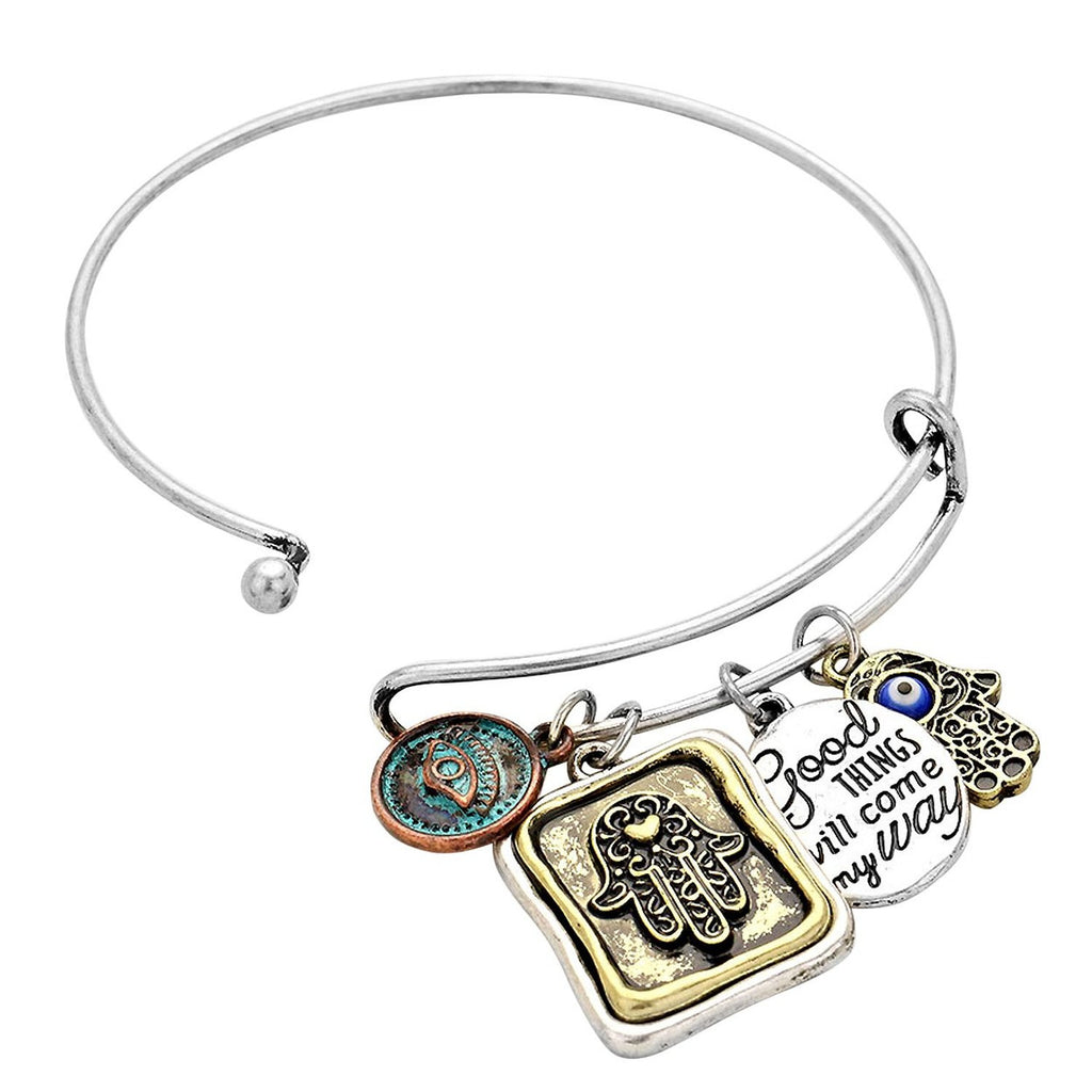 Hamsa Good Things Will Come My Way Bangle Bracelet