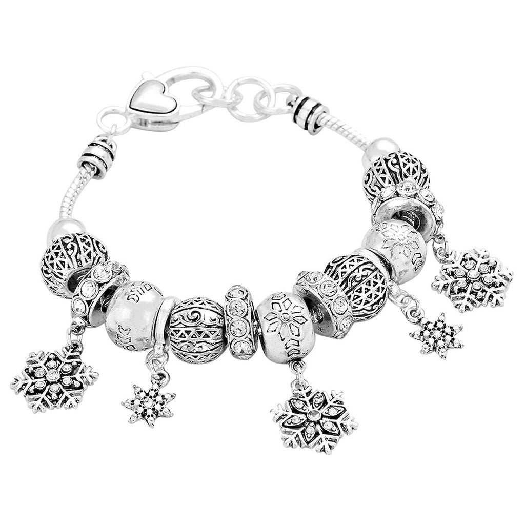 Silver Tone Winter Snowflake Beaded Charm Bracelet
