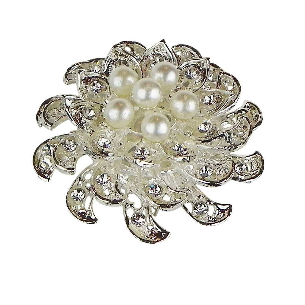 Rhinestone and Faux Pearl Christmas Flower Vintage Style Brooch