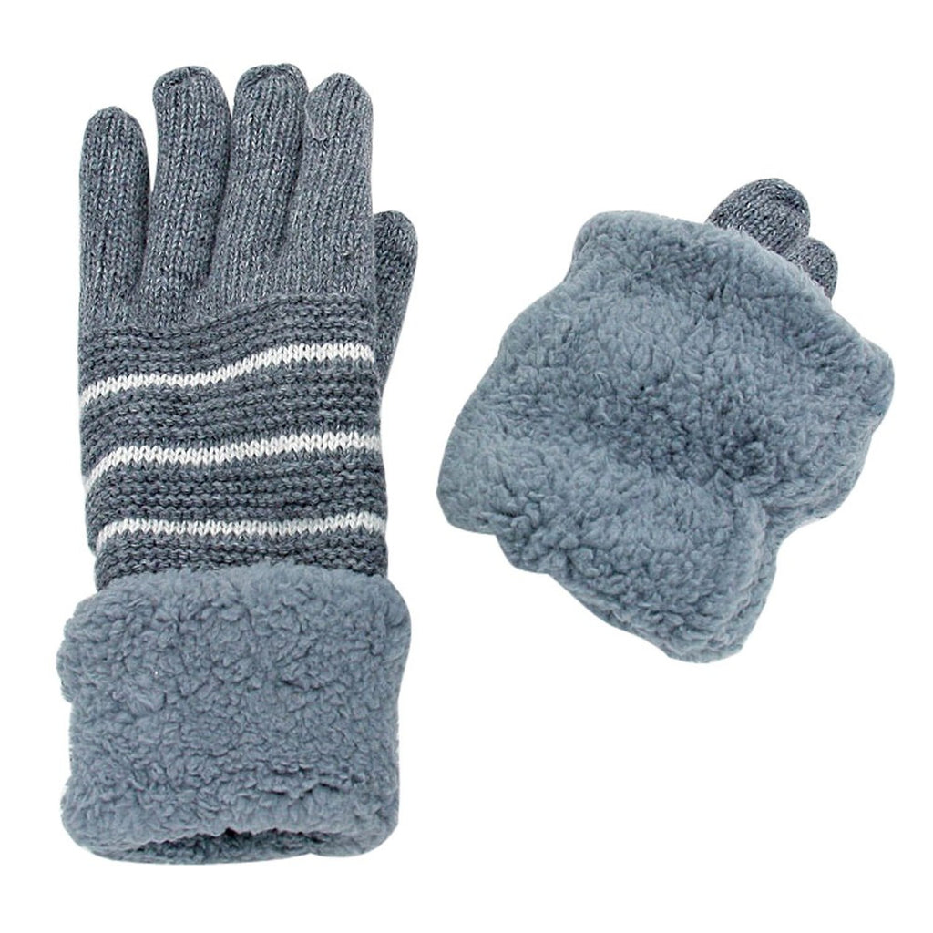 Striped Knit Fleece Lined Fold Over Gloves Gray
