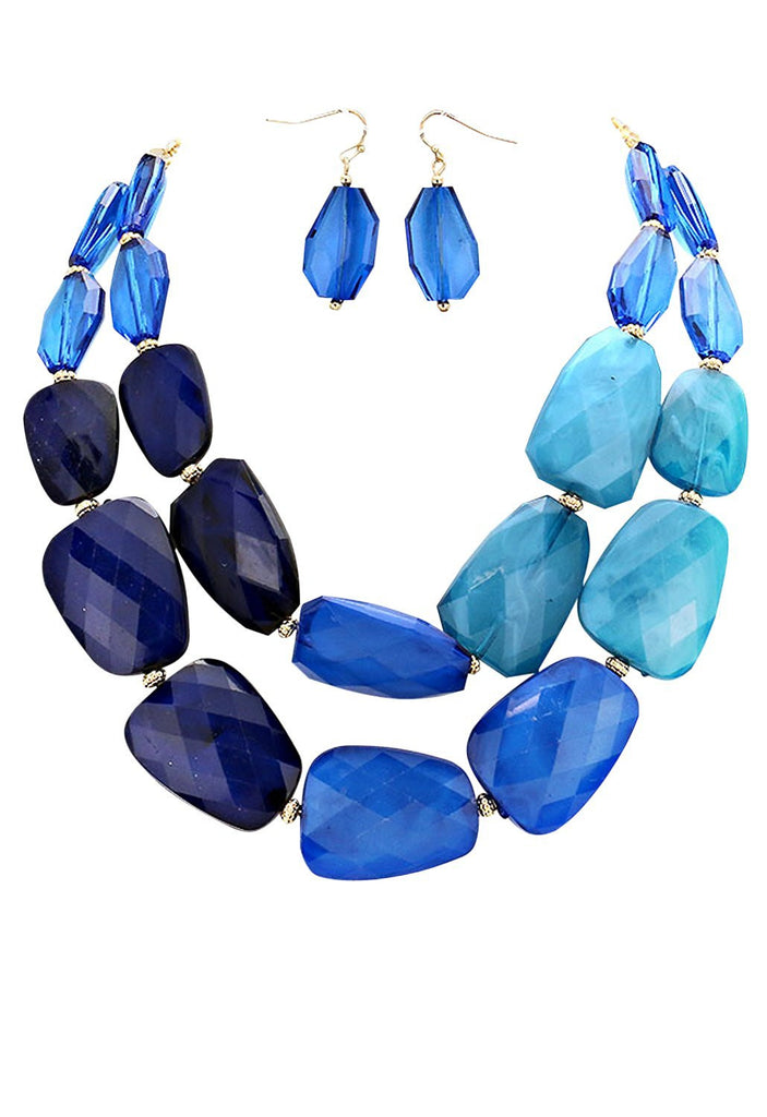 Blue Ombre Polished Resin Statement Necklace Earrings Set