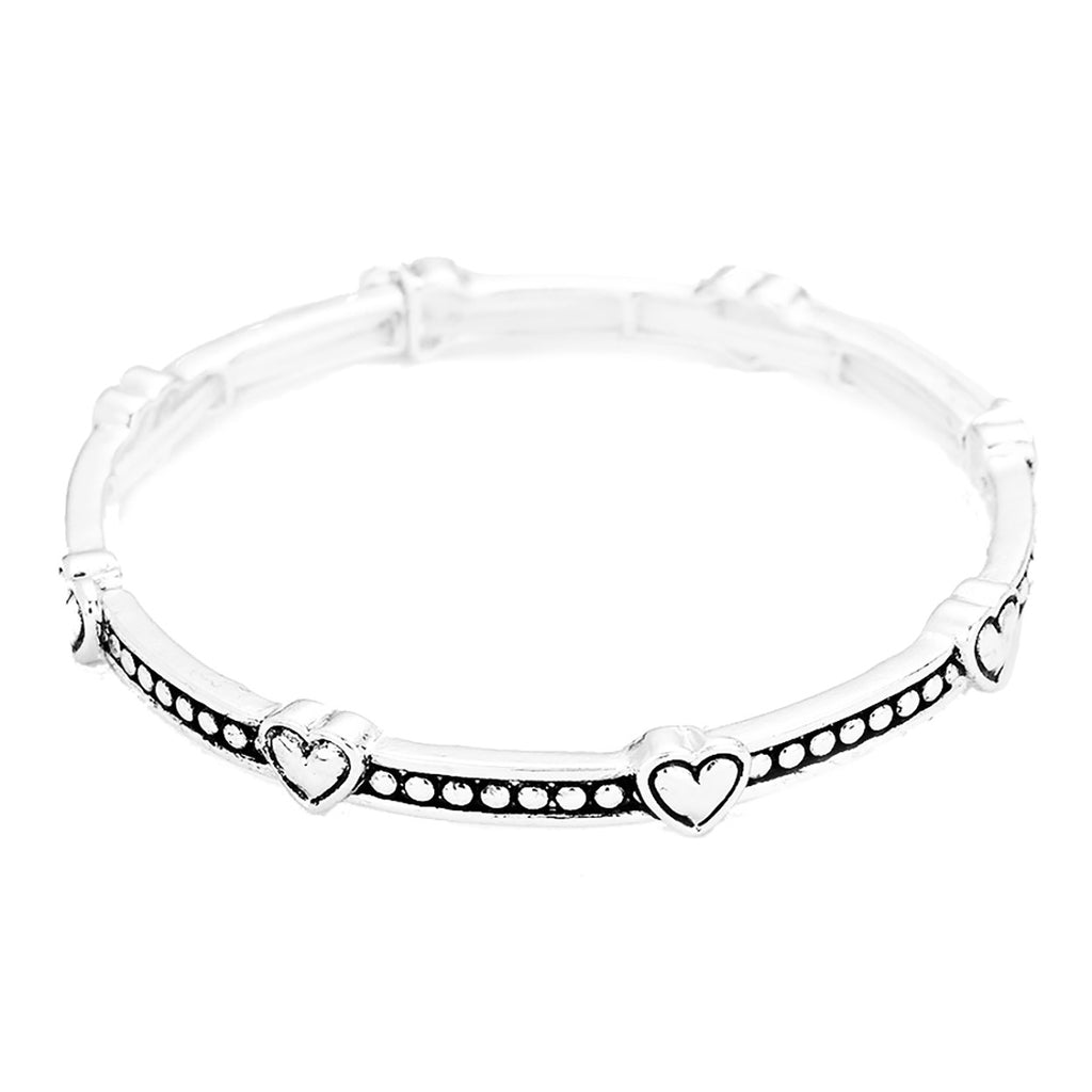 Heart Bracelet Stackable Bangle Silver Tone