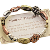 Mother and Daughter Heart Flower Stretch Bangle Bracelet Tri Tone