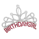Birthday Girl Mini Tiara Hair Comb Silver and Pink Rhinestone