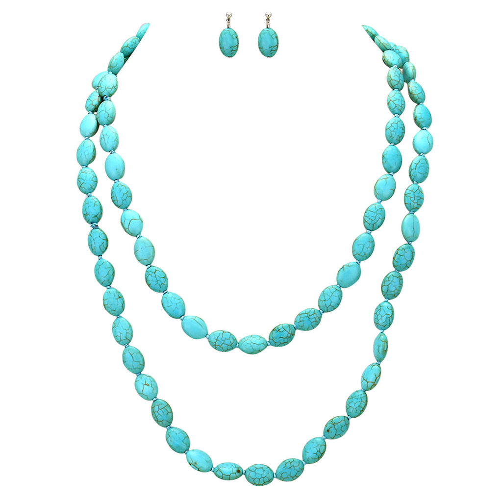 Long Beaded Turquoise Color Statement Necklace Earring Set