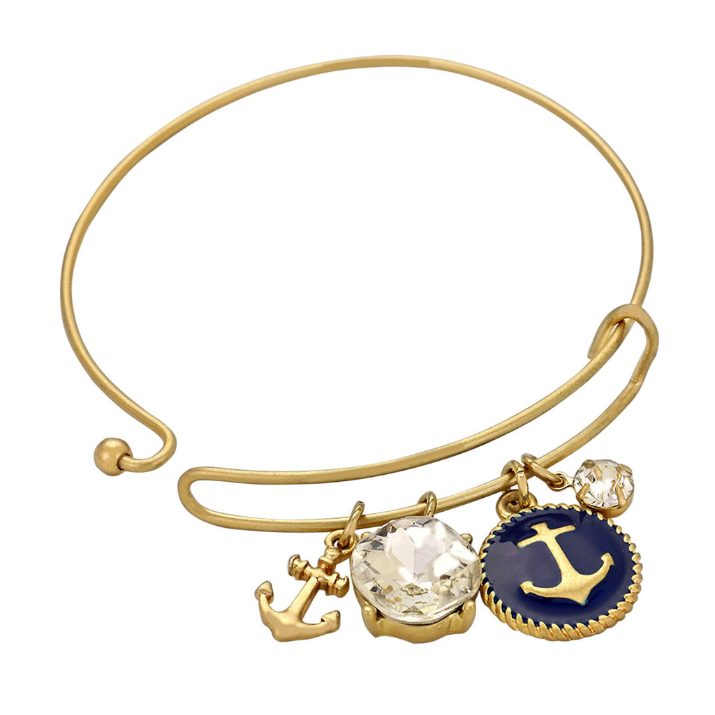 Gold Tone and Navy Color Anchor Hook Bangle Bracelet Crystal Charm