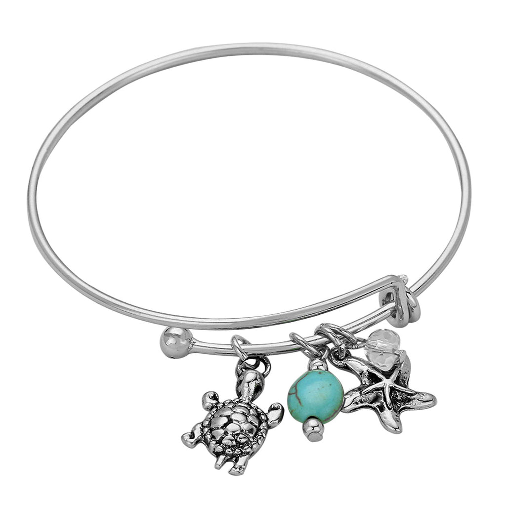 Coastal Turtle Starfish Charm Wire Bangle Bracelet Adjustable Bangle Bracelet