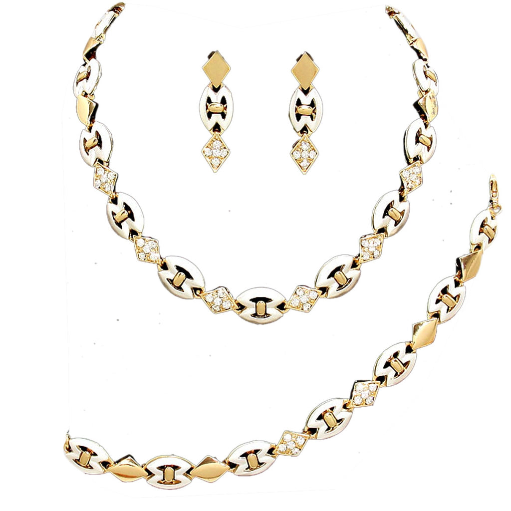 Two Tone Crystal Necklace Bracelet Earring Jewelry Set