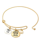 Antique Gold Tone Religious I Can Do All Things Through Christ Charm Wire Bangle Bracelet