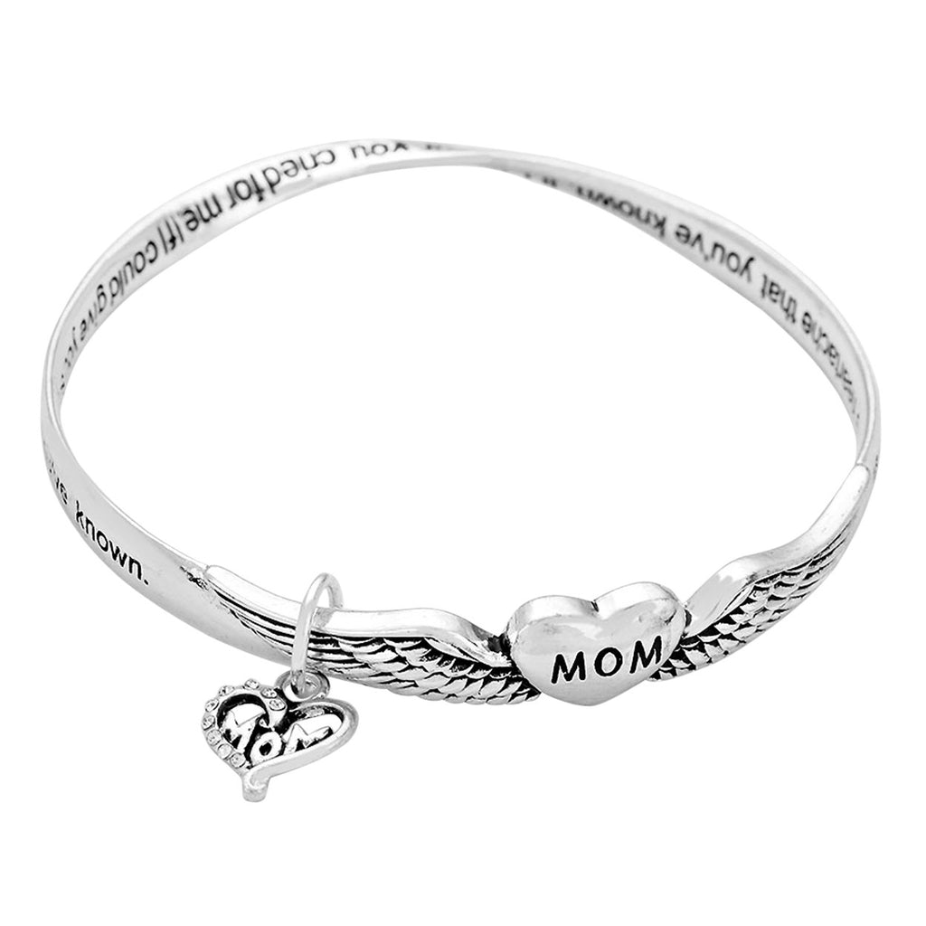 "Angel Heart ""Mom"" Charm Twist Bangle Bracelet"