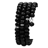 Crystal Accent Black Glass Bead Coiled Adjustable Bracelet