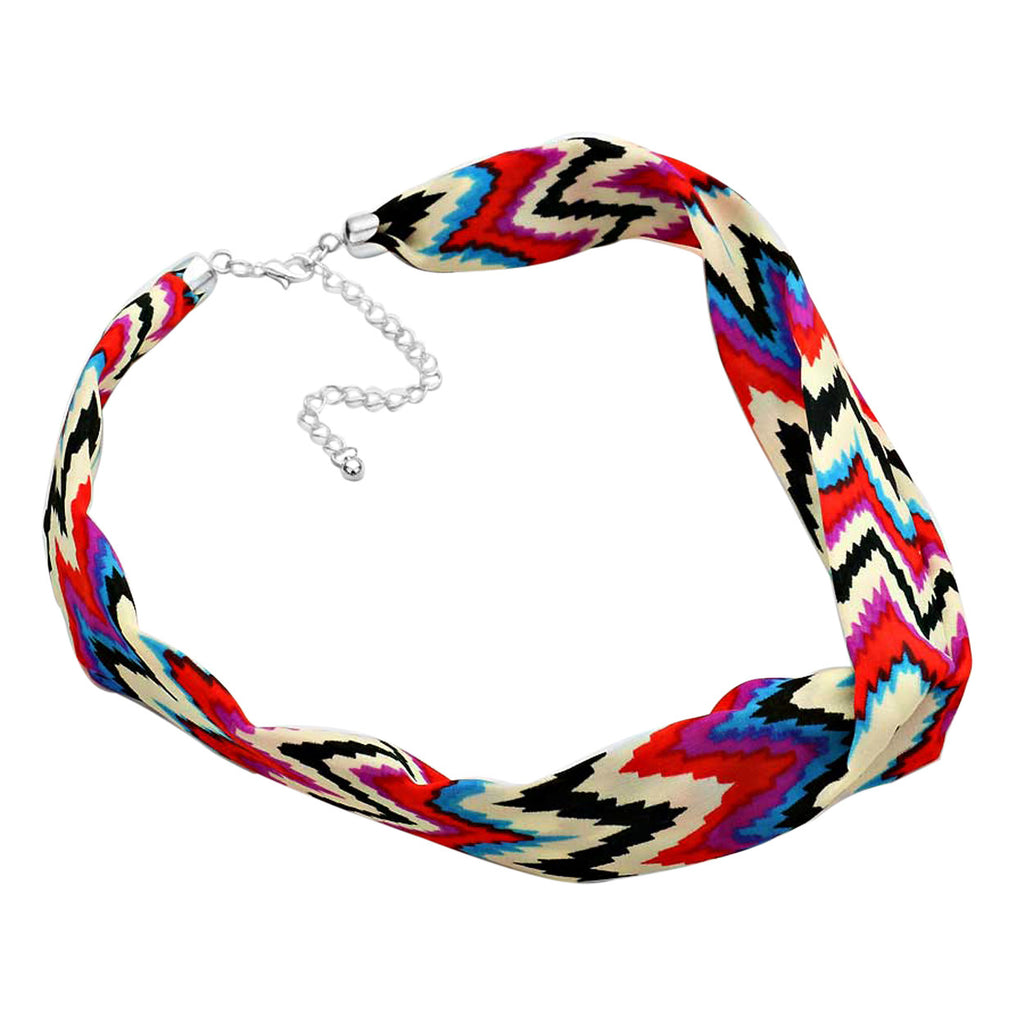 Red Multi Color Geo Chevron Pattern Fabric Collar Necklace