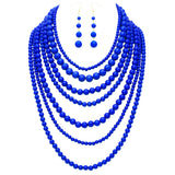 Cobalt Blue Beaded Multi Strand long Necklace and Earrings Jewelry Set
