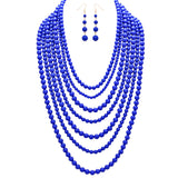 Multi Layer Polished Blue Bead Statement Necklace Earring Jewelry Set