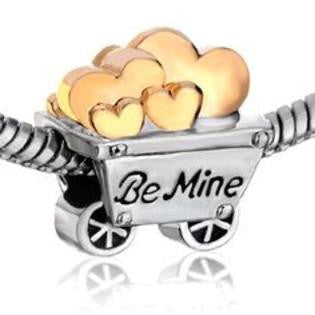 Golden Hearts Be Mine Love Cart Pugster Two Tone Plated Charm Bead - Fit All Brand Bead Charm Bracelets