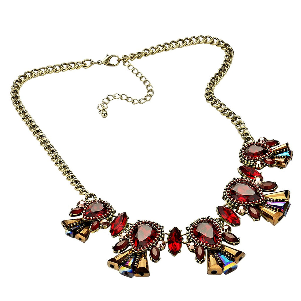 Statement Necklace-Floral Crystal Tear drop-Burnished Gold and Red Color