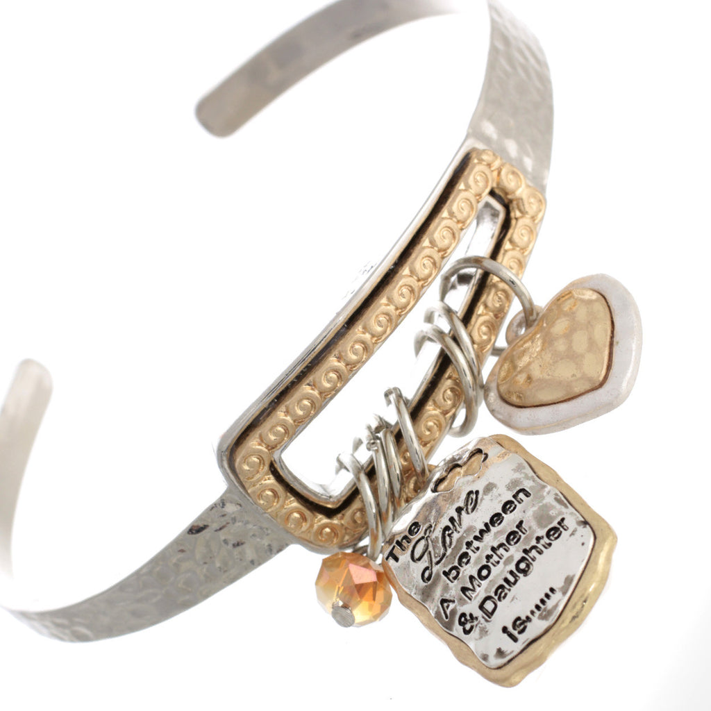 Mother Daughter Heart Charm Cuff Bracelet