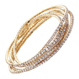 Set of 5 Rhinestone Stretch Bracelets (Gold Tone/Clear Crystal)