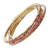 Set of 5 Rhinestone Stretch Bracelets (Gold Tone/Red)