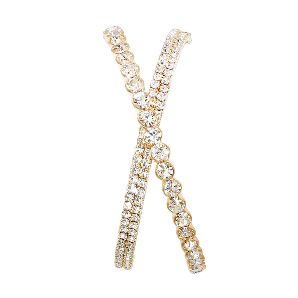 Rhinestone Criss Cross Statement Cuff Bracelet