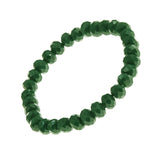 Christmas Green Faceted Glass Crystal Simple Strand Stretch Bracelet