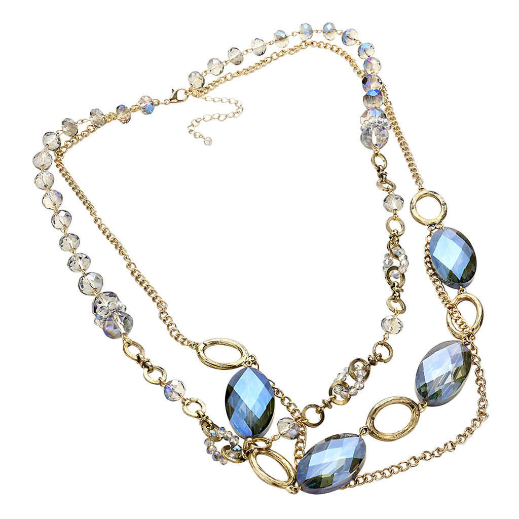 Glass Bead and Crystal Vintage Style Statement Necklace and Earrings Set