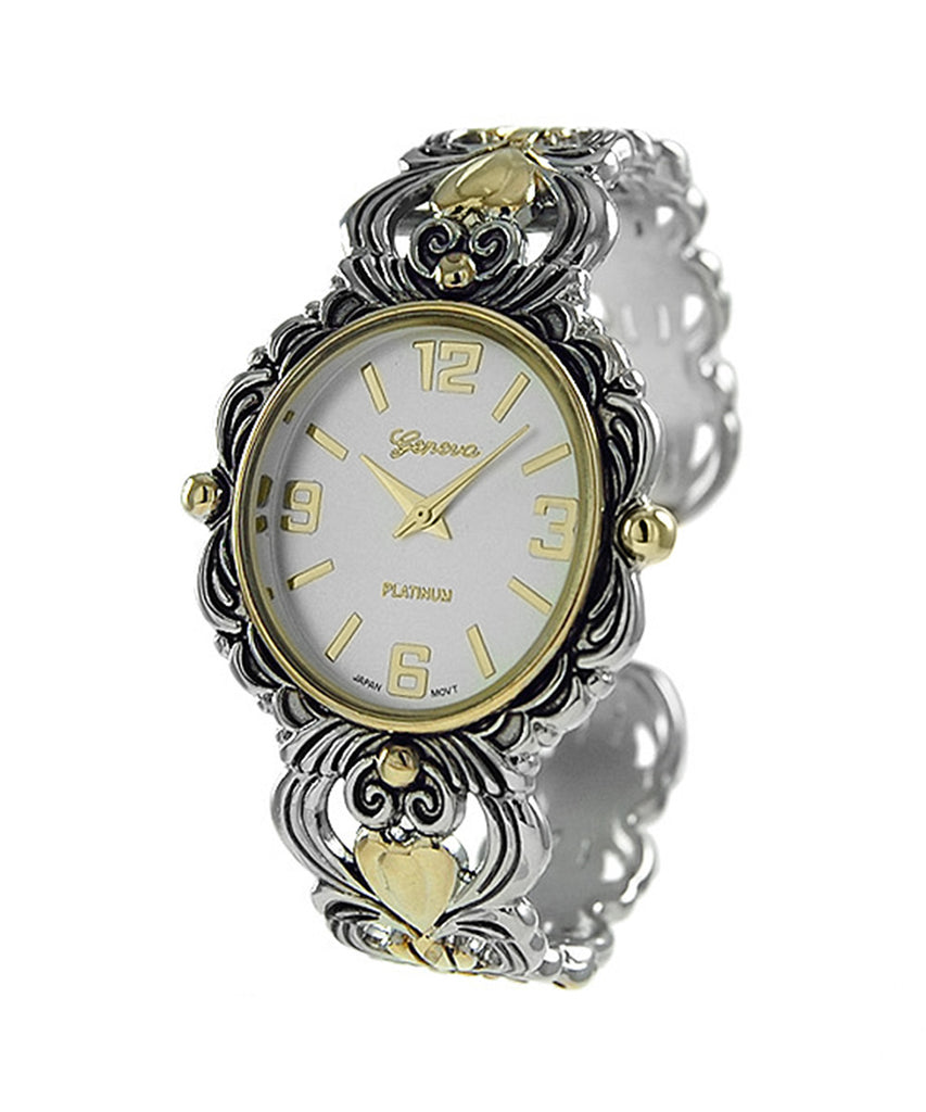 Stylish Two Tone Concho Bangle with Intricate Detail Cuff Bracelet Watch