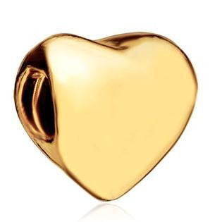 Gold Heart Charm Bead Fits All Brand Charm Bracelets
