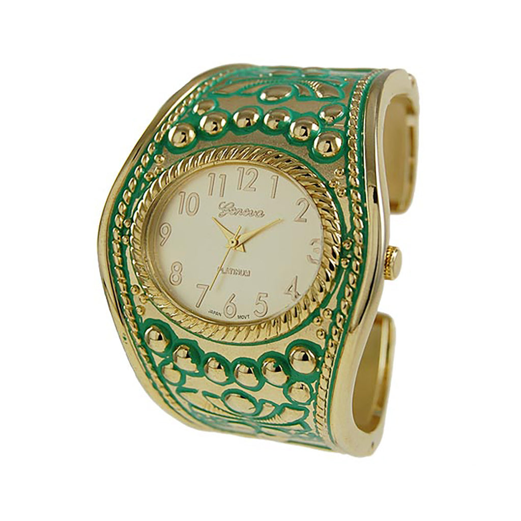 Statement Green and Gold Tone Extra Wide Design Bangle Cuff Watch