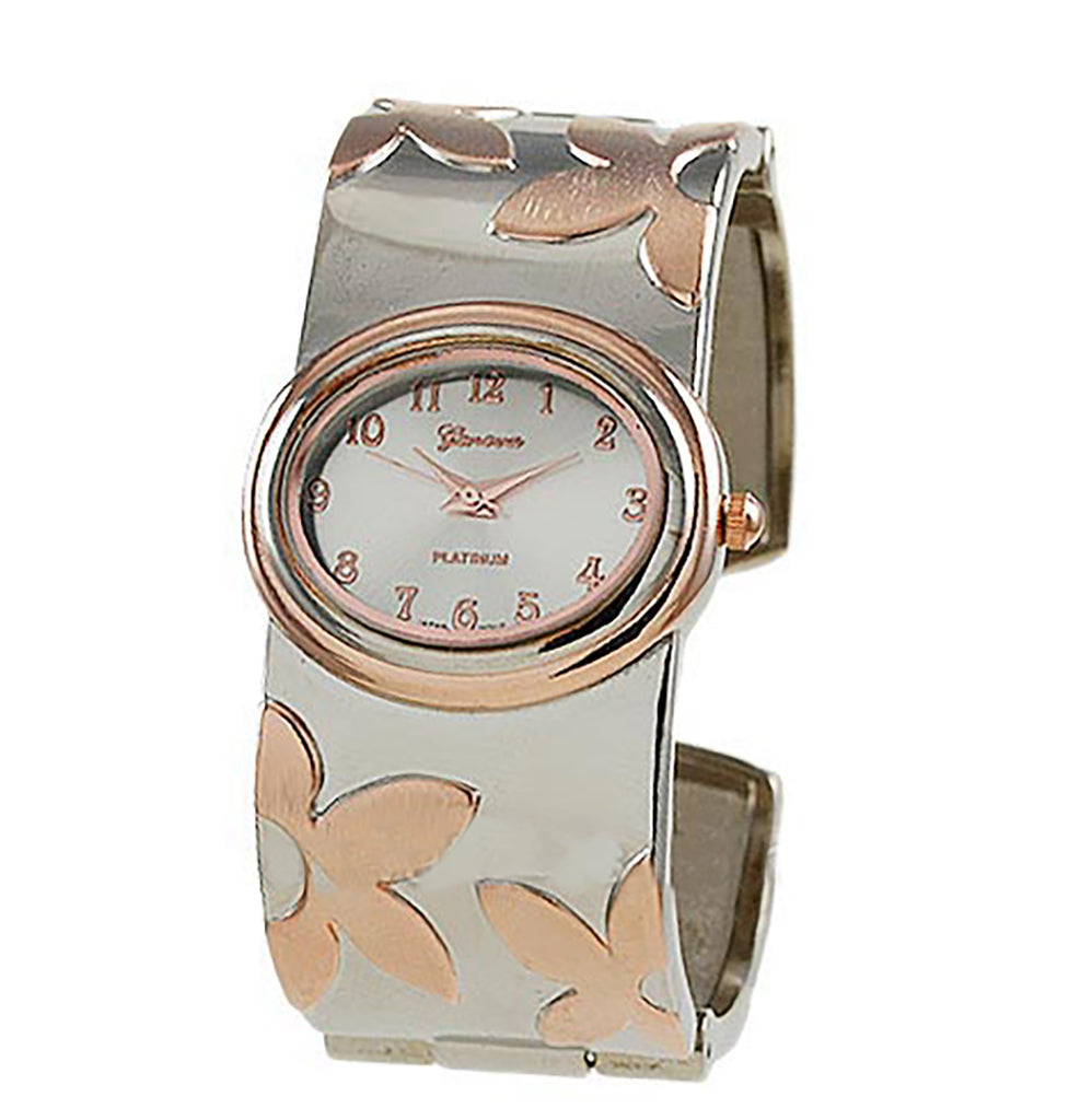 Statement Oversize Silver and Copper Tone Extra Wide Flower Design Bangle Cuff Bracelet Watch