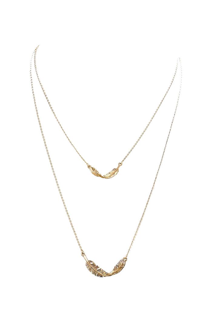 Gold Feather Necklace Rosemarie Collections