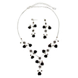 Elegant Crystal and Rose Statement Necklace Earring Jewelry Gift Set 14.5