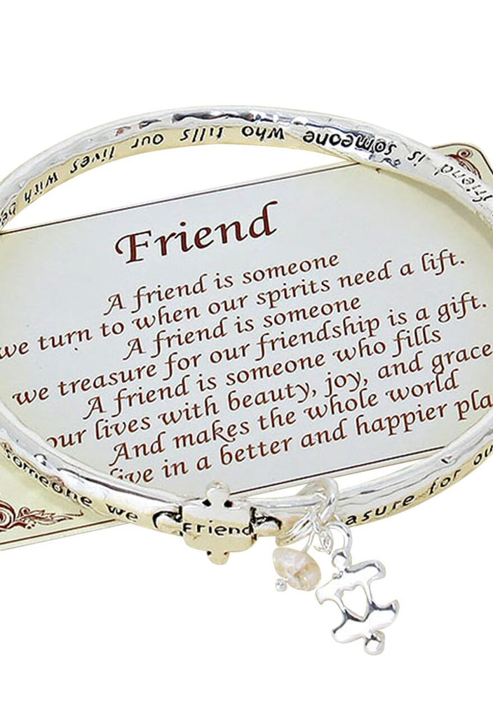 Friend Inspiring Quote Twist Bangle Bracelet Silver Tone