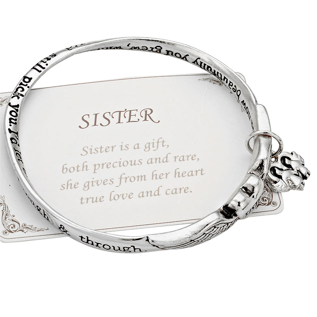 Heart Sister Angel Wings Inspirational Charm Bangle Bracelet Silver Tone