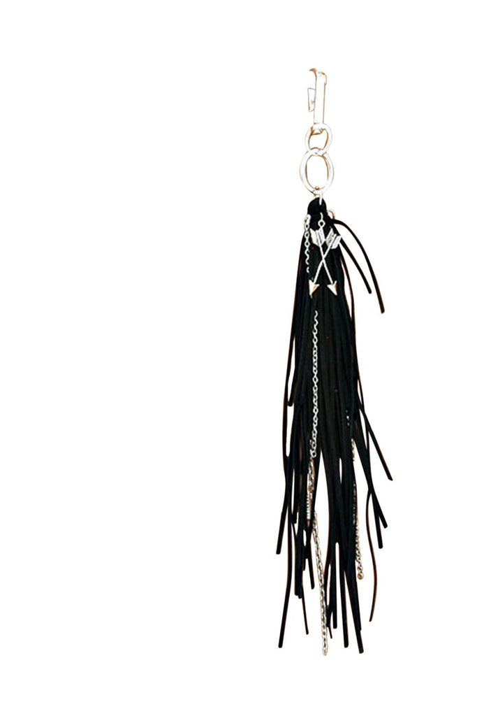 Metal Arrow Suede Tassel Keychain Bag Charm Black and Silver Color