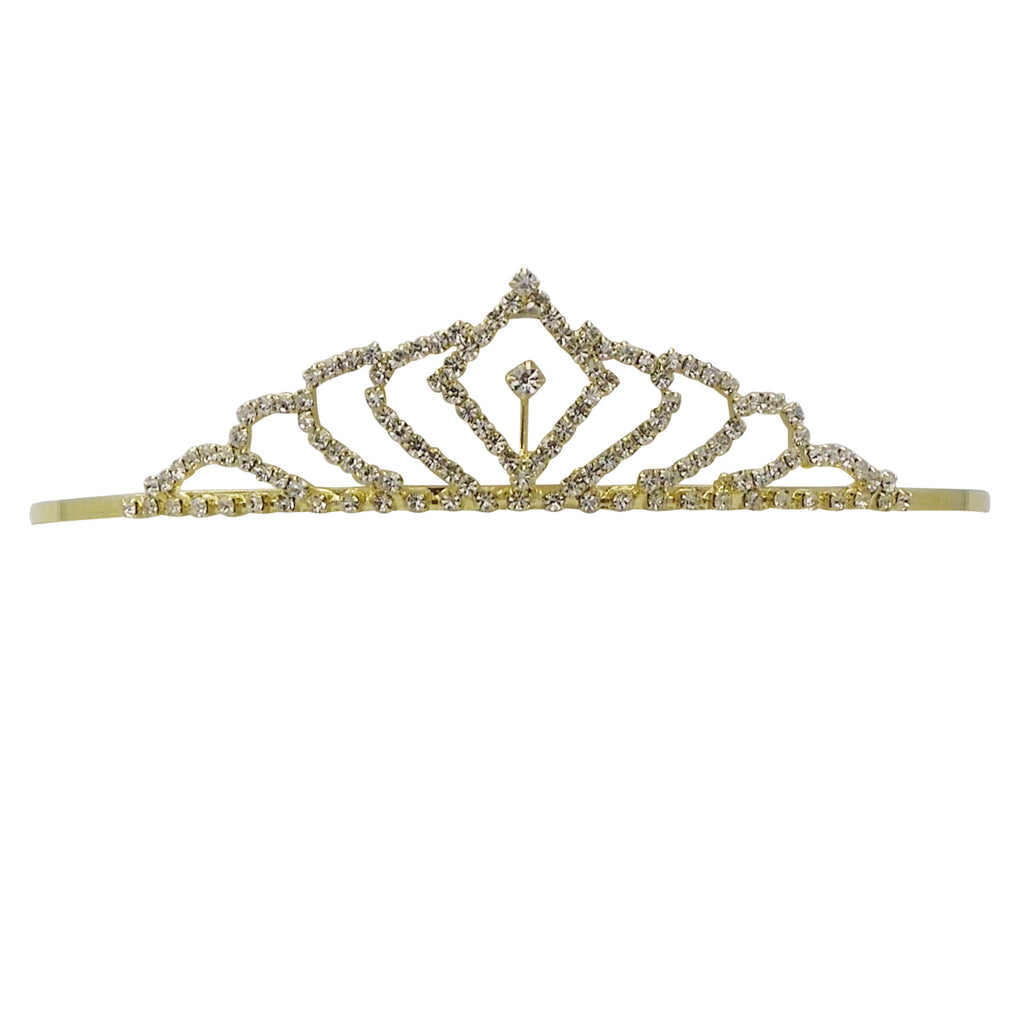 Gold Tone Crystal and Rhinestone Princess Bridal Tiara