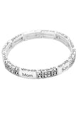 Silver Color Mom and Son Stretch Bangle Bracelet