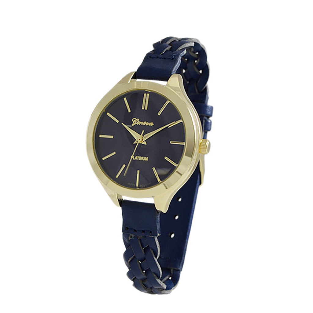 Gold Numbers Wrist Watch Faux Navy Blue Leather Band Fashion Watch