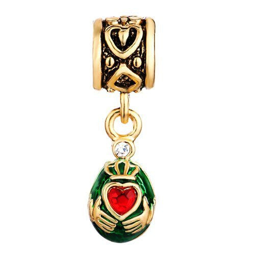 Claddagh Faberge Egg Dangle Bead. Bright Red Rhinestone with Green Enamel on Golden Color Egg - Fits All European Charm Bracelet