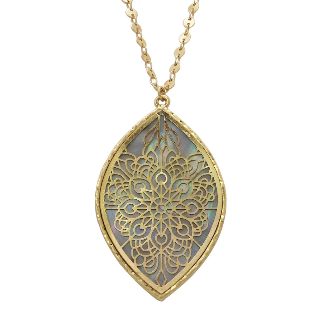 Gold pendant necklace rosemarie collections abalone shell openwork flower long pendant necklace mozeypictures Choice Image