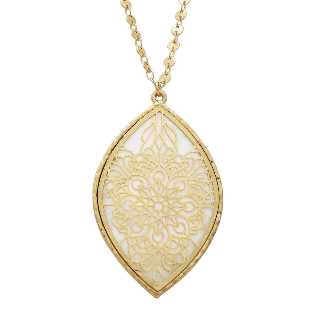 Mother of Pearl Openwork Flower Long Pendant Necklace