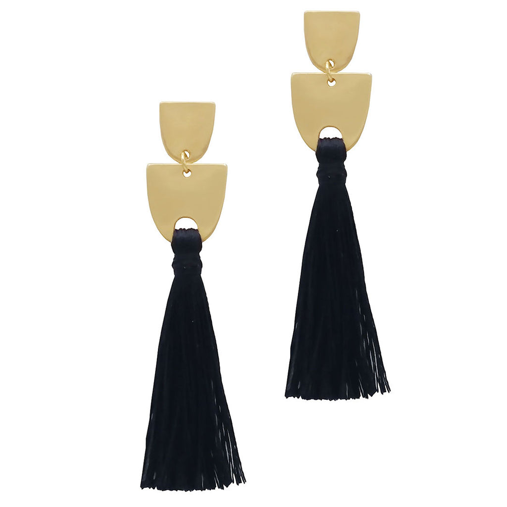 Black Thread Tassel Dangle Earrings