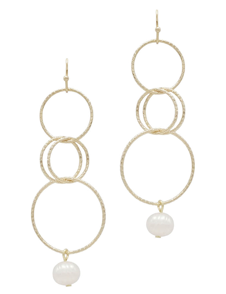 Multi Hoop with Faux Pearl Dangle Earrings