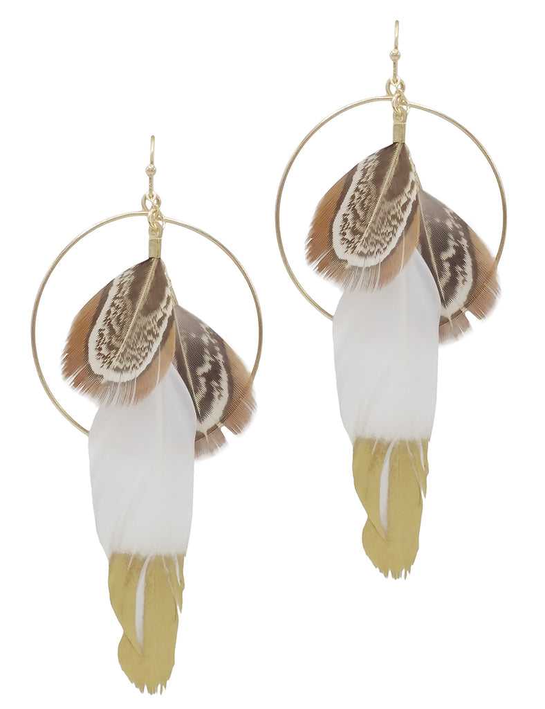 Ivory Triple Feather and Hoop Statement Earrings