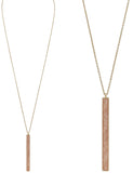 Vertical Bar Pendant Extra Long Statement Necklace (Pink)
