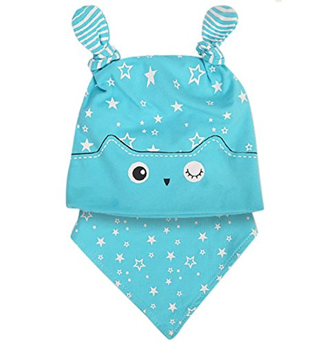 Rosemarie Collections Winking Owl Baby Cap and Bandana Bib Set (Blue)
