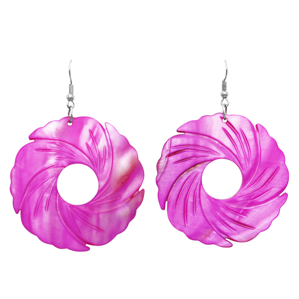 Colorful Spiral Circle Large Statement Natural Shell Dangle Drop Earrings (Fuchsia)