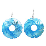 Colorful Long Spiral Circle Statement Natural Shell Dangle Earrings (Turquoise)