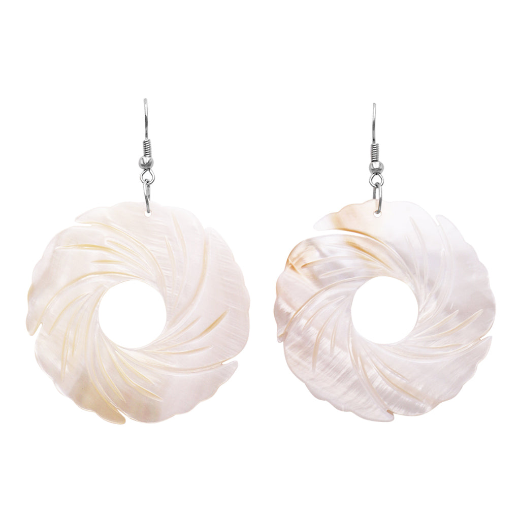 Colorful Spiral Circle Large Statement Beautiful Natural Shell Dangle Earrings (White)